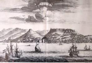 ZANTE . in 1678. Drawn by Pieter Schei. Engraver Daniel Stopendaal . Published in the book of Olfert Dapper Perigrafi tou Morea, Amsterdam 1688.