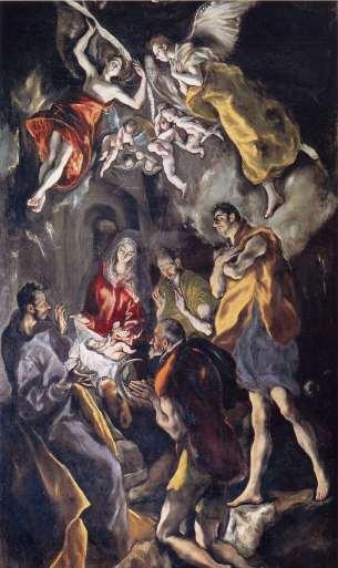 EL GRECO - La Adoración de los pastores ((1603-1607). Óleo sobre lienzo. Madrid, Museo del Prado