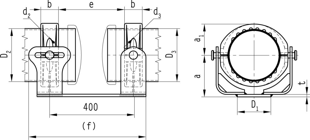 medium resolution of b 5 5 al clamps support sliding fixed for al tube and base plate