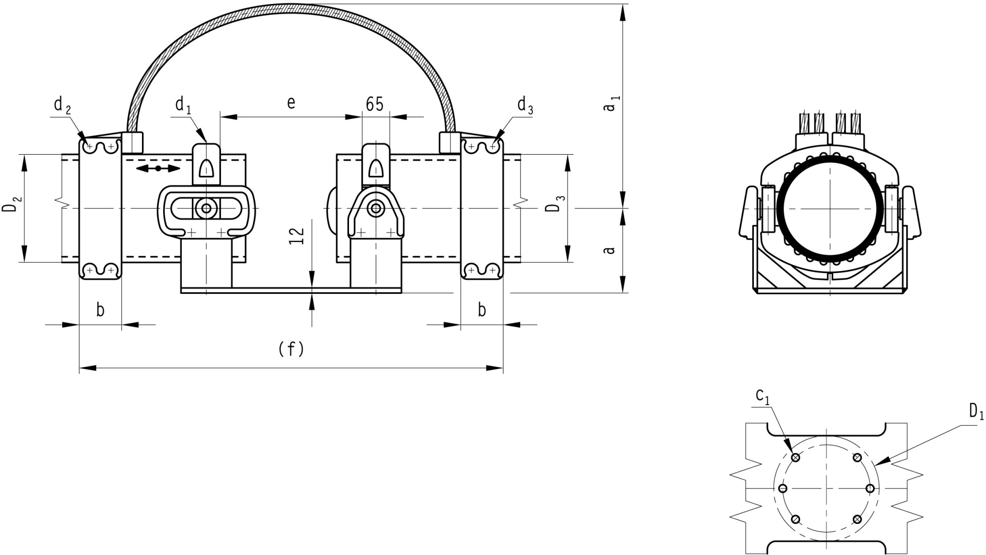 hight resolution of b 6 1 al clamps support sliding fixed for al tube and base plate