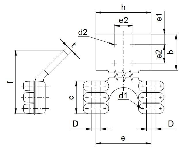 Svorky 45° pre pripojenie AlFe vodiča (dvoch vodičov) na