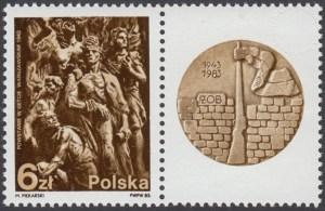 40 rocznica powstania w getcie warszawskim znaczek nr 2718 + przywieszka