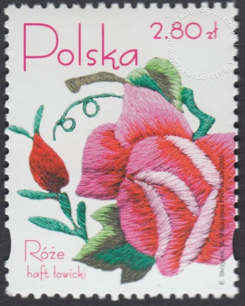 Róże w hafcie polskim znaczek nr 4048