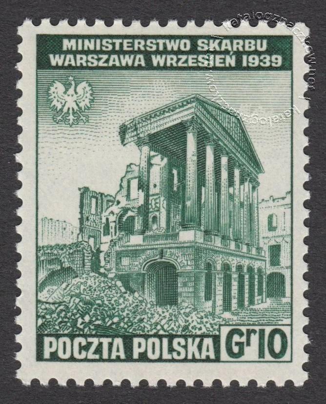 Zniszczenia dokonane przez Niemców w Polsce. Wojsko polskie w Wielkiej Brytanii znaczek nr B338