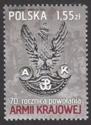 70 rocznica powołania Armii Krajowej - znaczek nr 4398