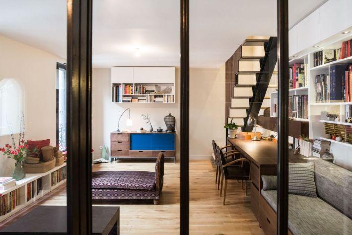 meubles en bois sur mesure pour le sejour d'un apartement Parisien