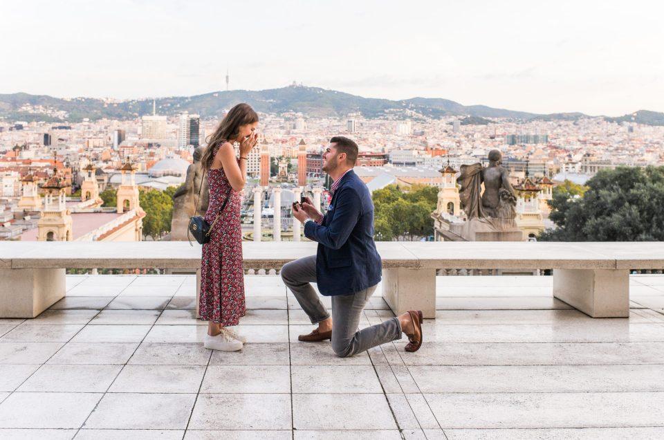 surprise proposal Barcelona Montjuïc