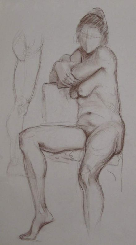 Life drawing, conte on paper.