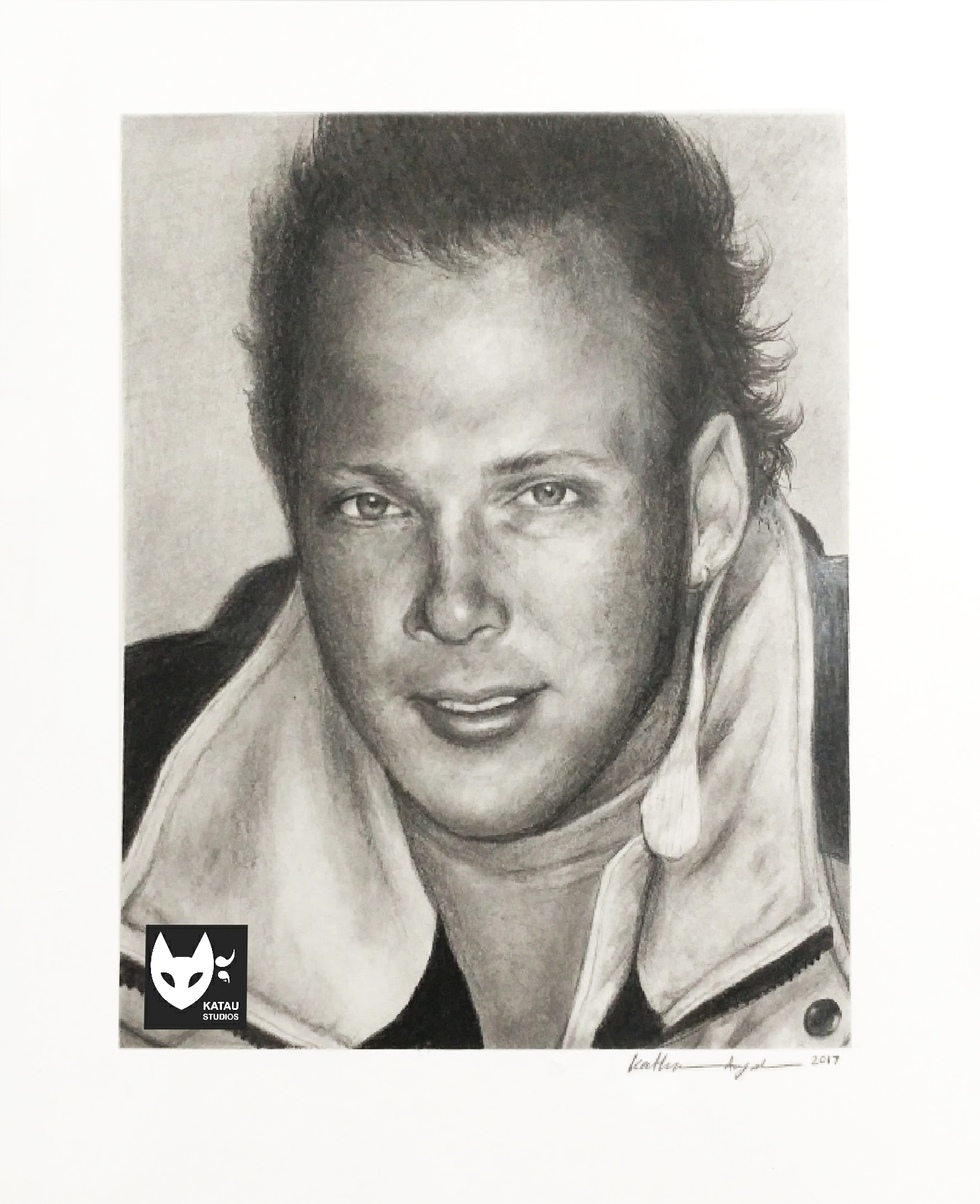 Eric Graphite Portrait Drawing Full by Katherine Augade