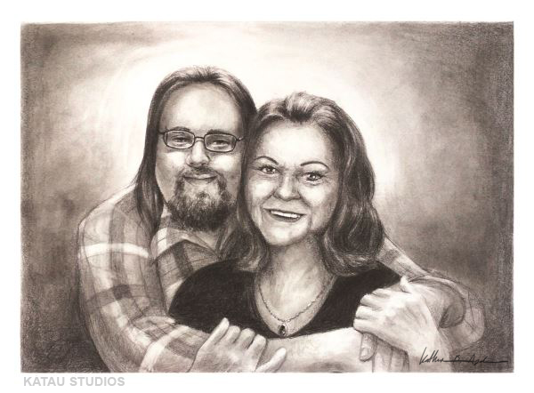 Double Memorial Portrait Commission Signed by Katherine Augade