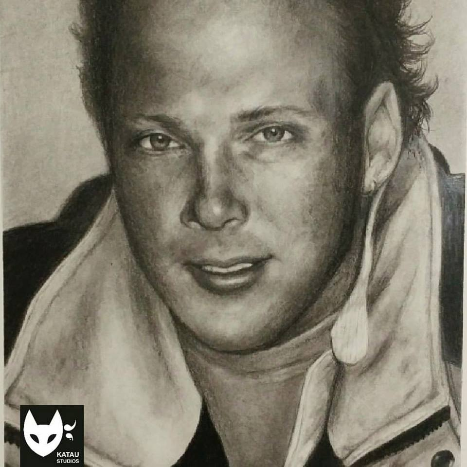 Eric Graphite & Charcoal Portrait by Katherine Augade