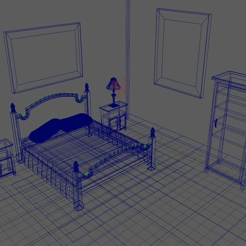Maya 3D bedroom scene wireframe