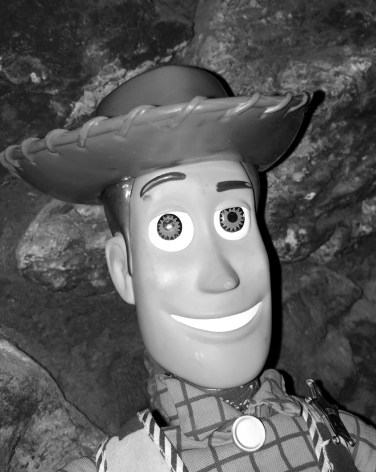 Woody looks mighty spiffy in black and white.