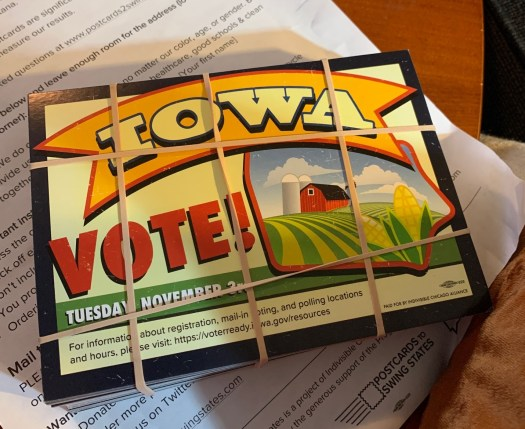 A postcard reminding people in Iowa to vote in the 2020 election.