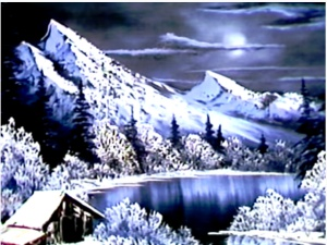 bob ross winter moon