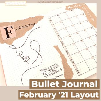 February 2021 Bullet Journal Layout