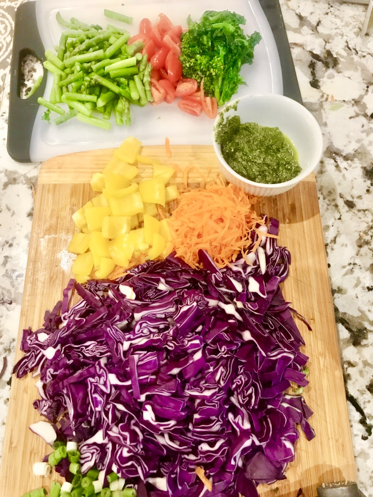 Ingredients for veggie pasta salad
