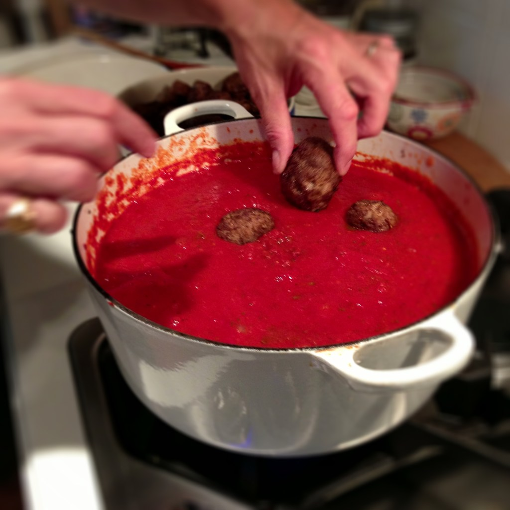 Putting the Meatballs in the sauce