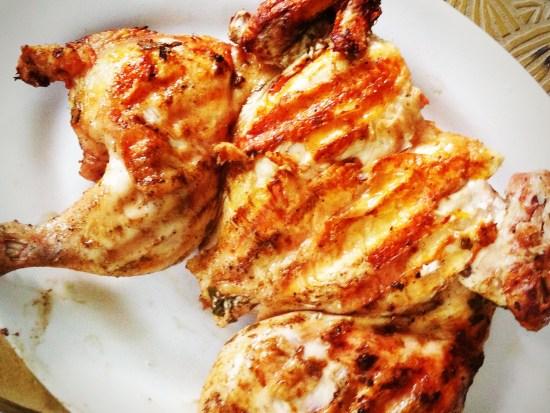 Tuscan Chicken Under a Brick