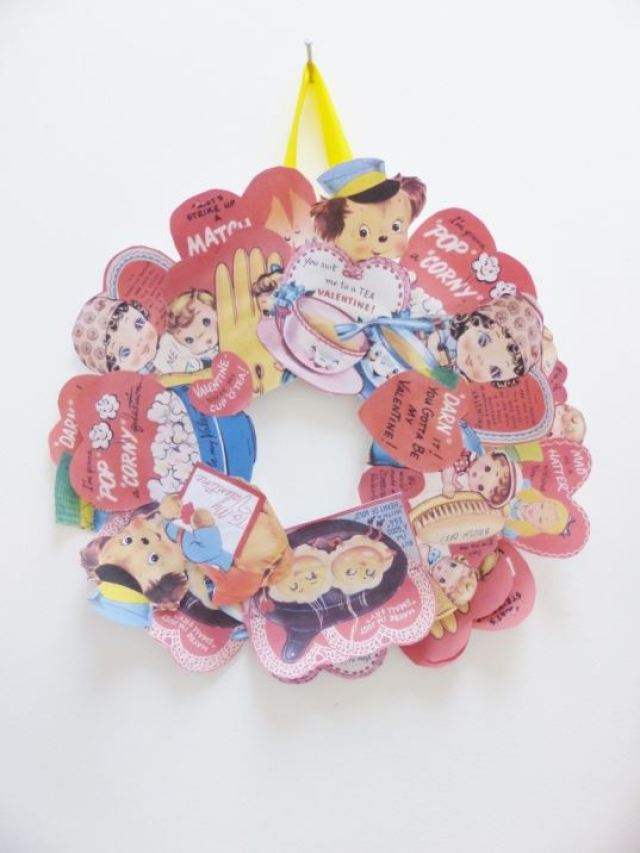 Vintage Valentines Day wreath by Kate Beavis