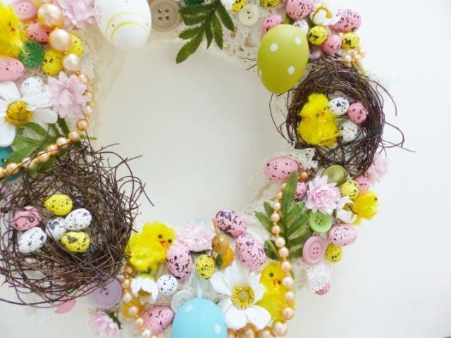 Vintage handmade craft easter wreath by Kate Beavis