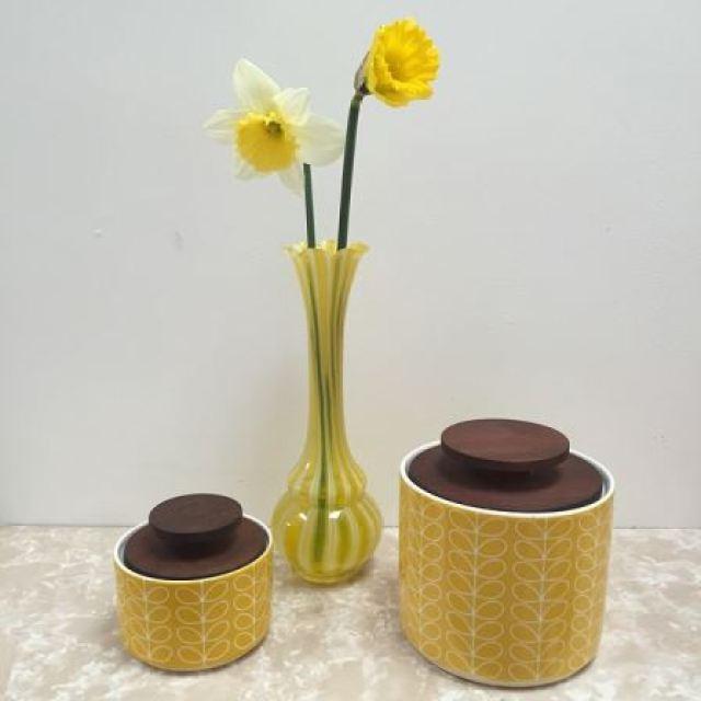 daffodills in vintage glass vase from Kate Beavis