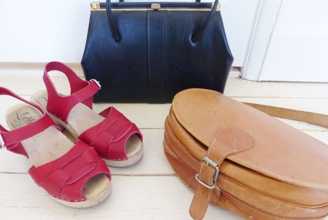 vintage handbags and clogs from Kate Beavis