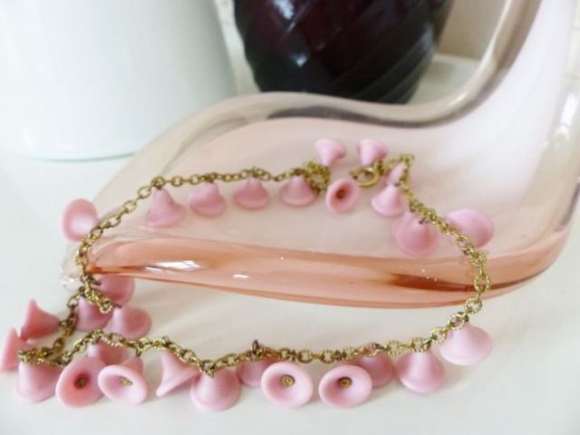 Vintage pink bell necklace jewellery by Kate Beavis