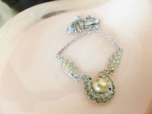 Horseshoe pearl necklace from Kate Beavis