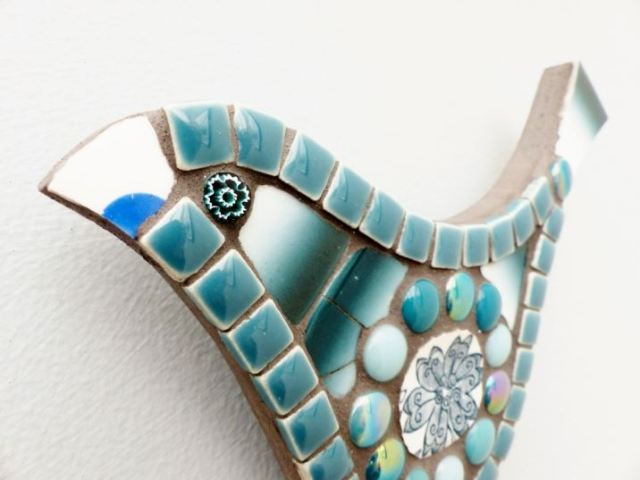 Ceramic vintage plate mosaic bird from Box of Frogs as featured on Kate Beavis Vintage Home Blog