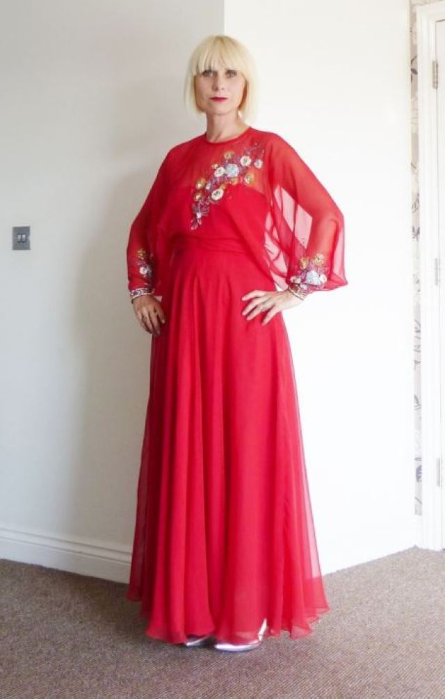 John Bates for Jean Varon Vintage 1970s maxi dress worn by Kate Beavis at The National Vintage Awards 2015
