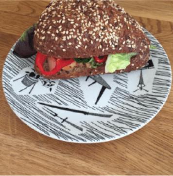 Salmon rye roll on Homemaker plate as seen on Kate Beavis Blog