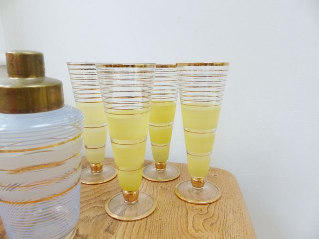 Vintage yellow cocktail glasses as featured on Kate Beavis Vintage Home blog