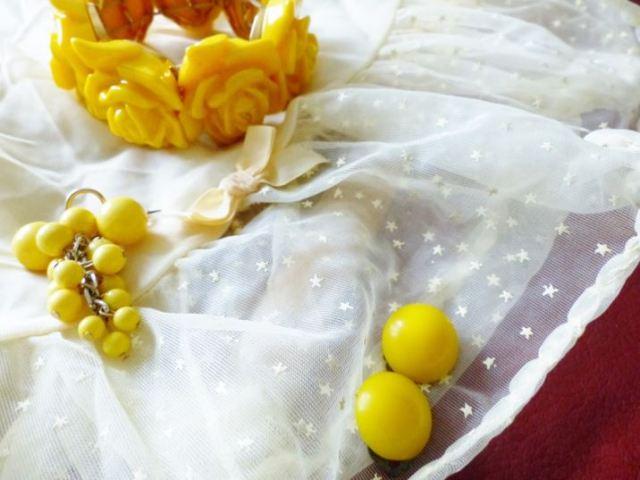 Vintage yellow petticoat and jewellery as seen on Kate Beavis Vintage Home blog www.katebeavis.com