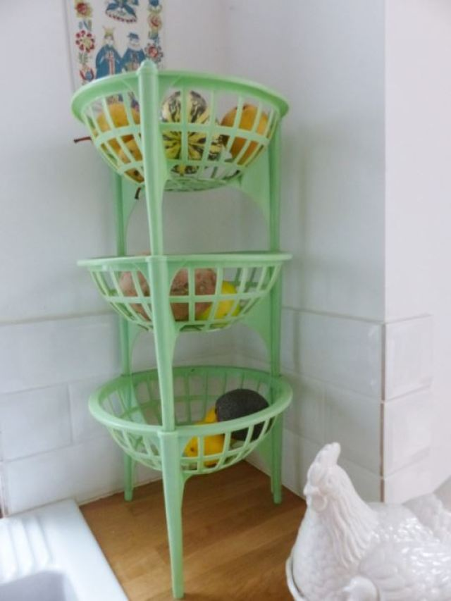 Vintage 1950s green vegetable rack as featured on Kate Beavis Home blog