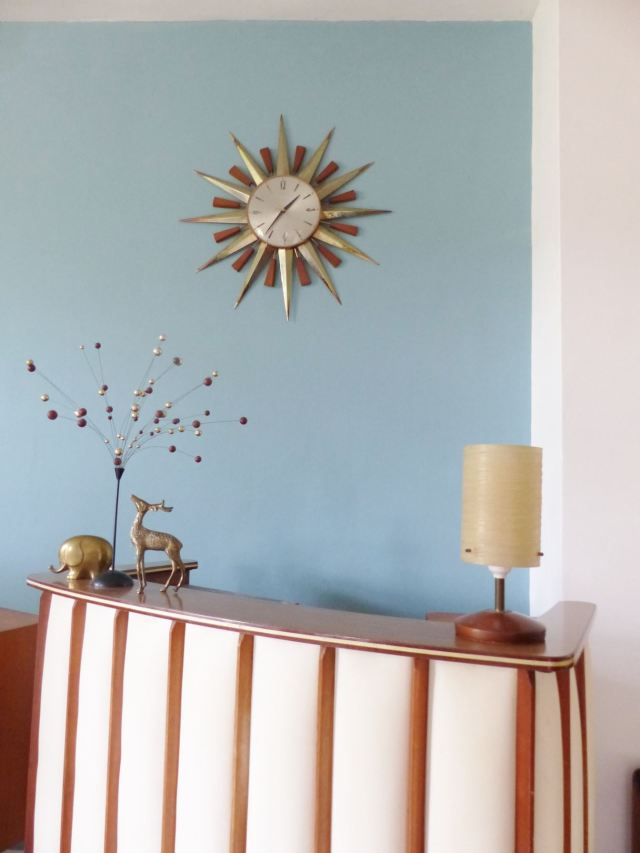 Vintage starburst clock as featured on Kate Beavis Vintage Home blog