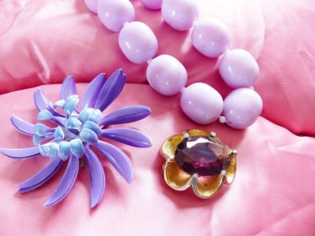 Vintage purple jewellery as featured on Kate Beavis Vintage Blog
