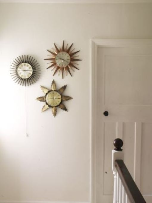 Vintage starburst clocks in Kate Beavis Vintage Home blog