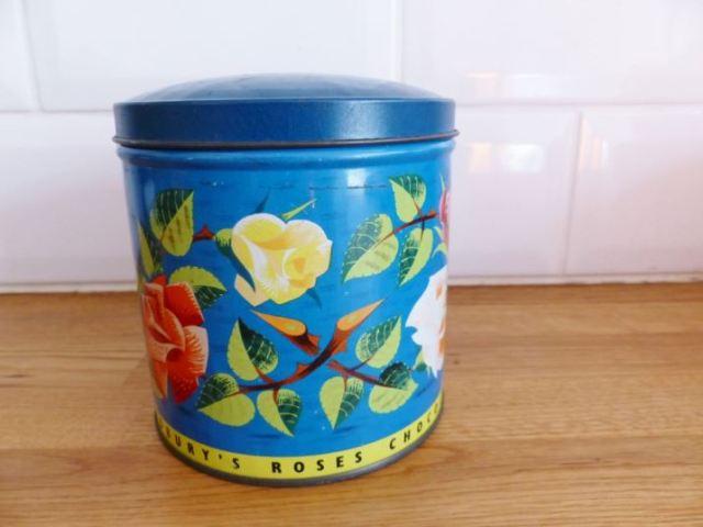 Vintage Roses chocolate tin as featured on Kate Beavis Vintage Home blog