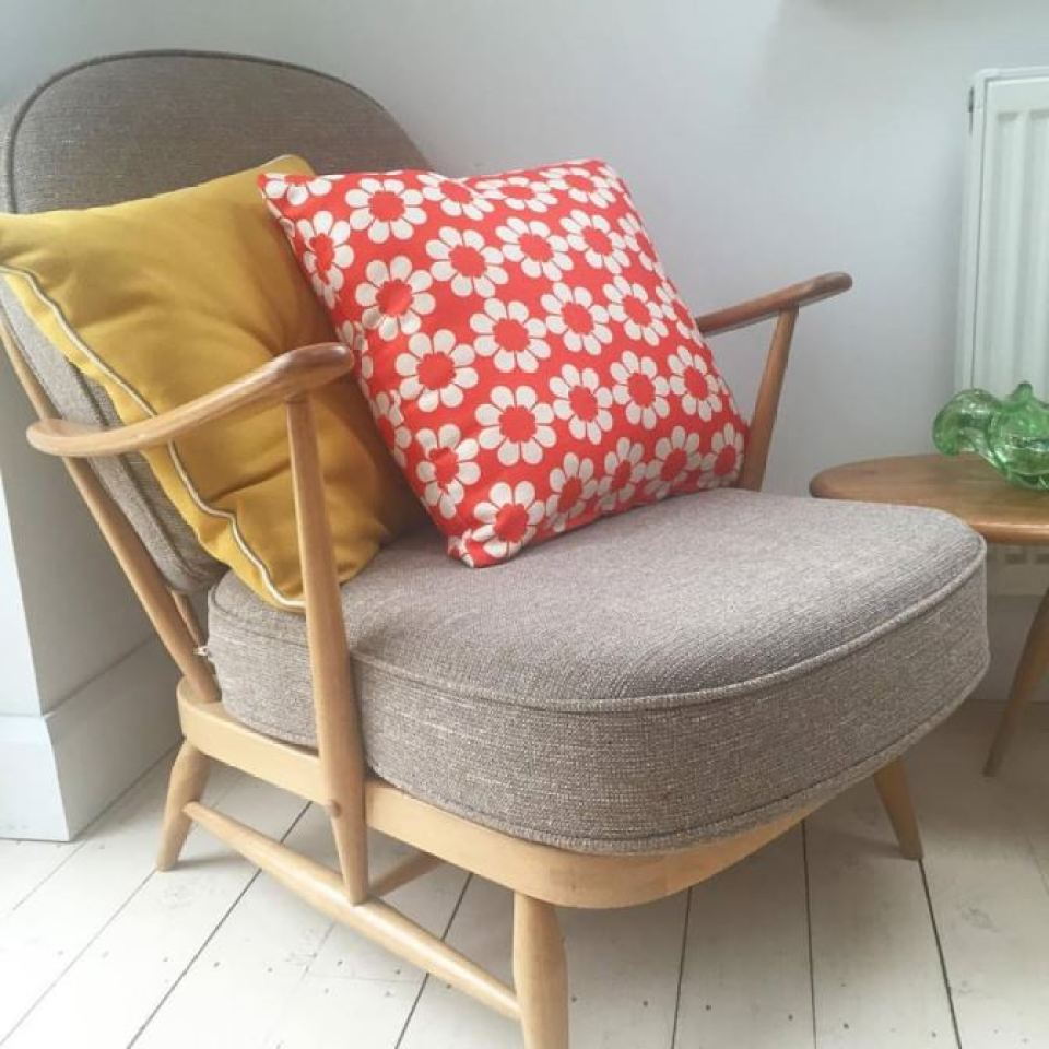 Vintage ercol chair and Hunkydory Home cushion as featured on Kate Beavis Vintage Home blog