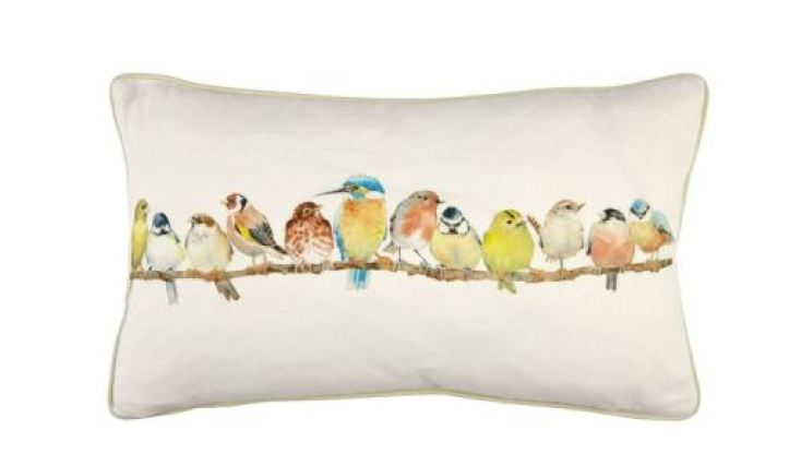 Vintage style bird cushion from Laura Ashley as featured on Kate Beavis Vintage Home Blog