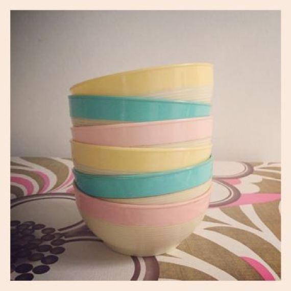 vintage bowls as featured on kate Beavis Vintage Home blog