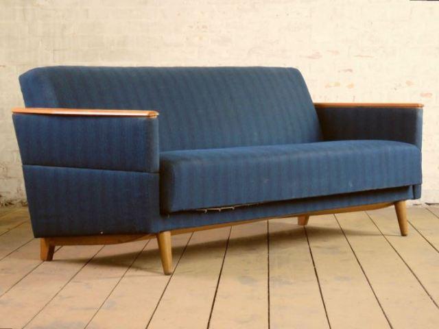 mid century sofa bed as seen on Kate Beavis Vintage Home blog