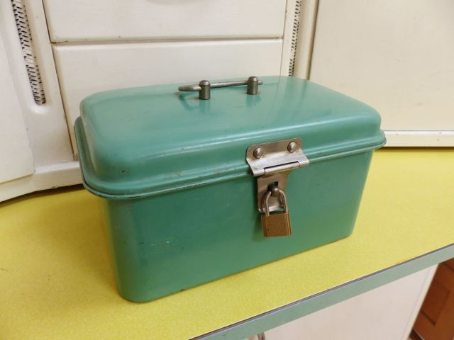 Vintage Dutch green enamel lunch box on kate Beavis Vintage Home blog