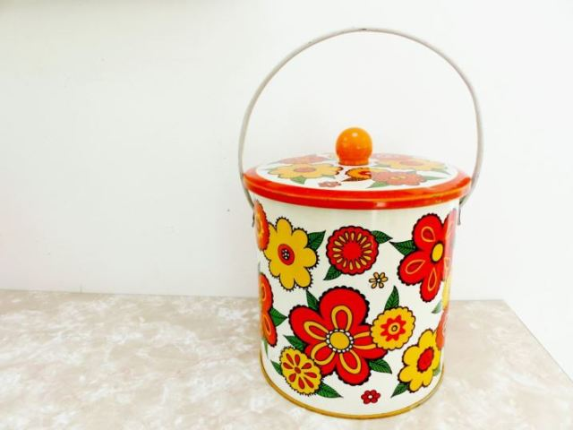 Vintage Baretware biscuit barrel as featured on Kate Beavis Vintage Blog