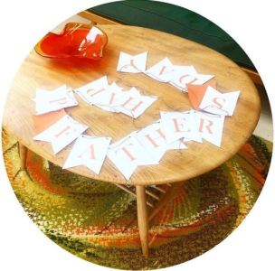 Free printable Fathers Day bunting and Ercol table
