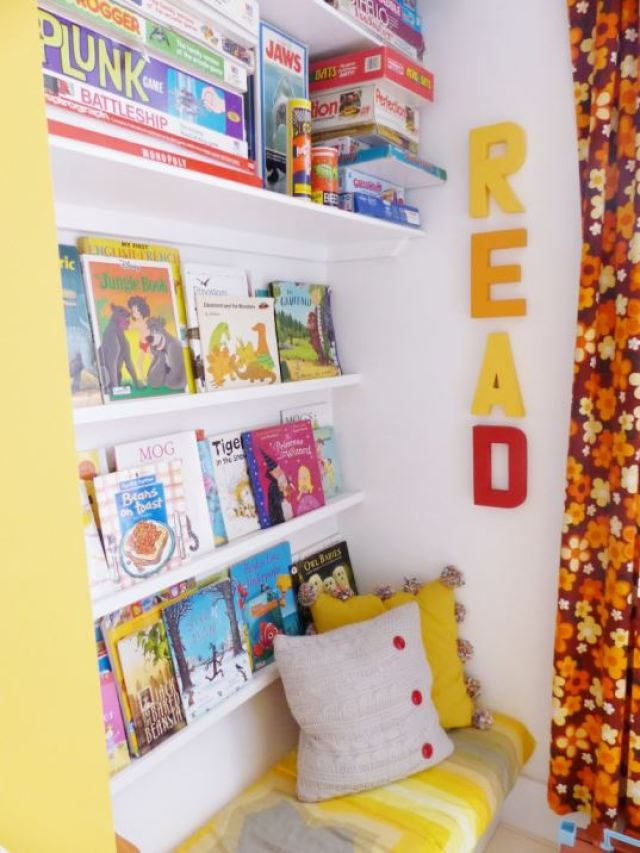 A vintage children's room by Kate Beavis.com, DIY reading area