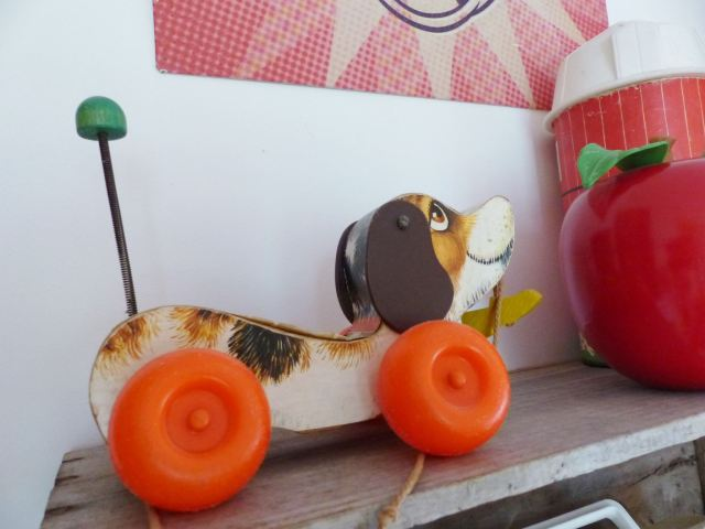 A vintage children's room by Kate Beavis.com, vintage fisher price dog