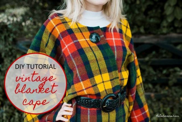 DIY Tutorial: How to Make a Vintage Blanket Cape by Kate Beavis