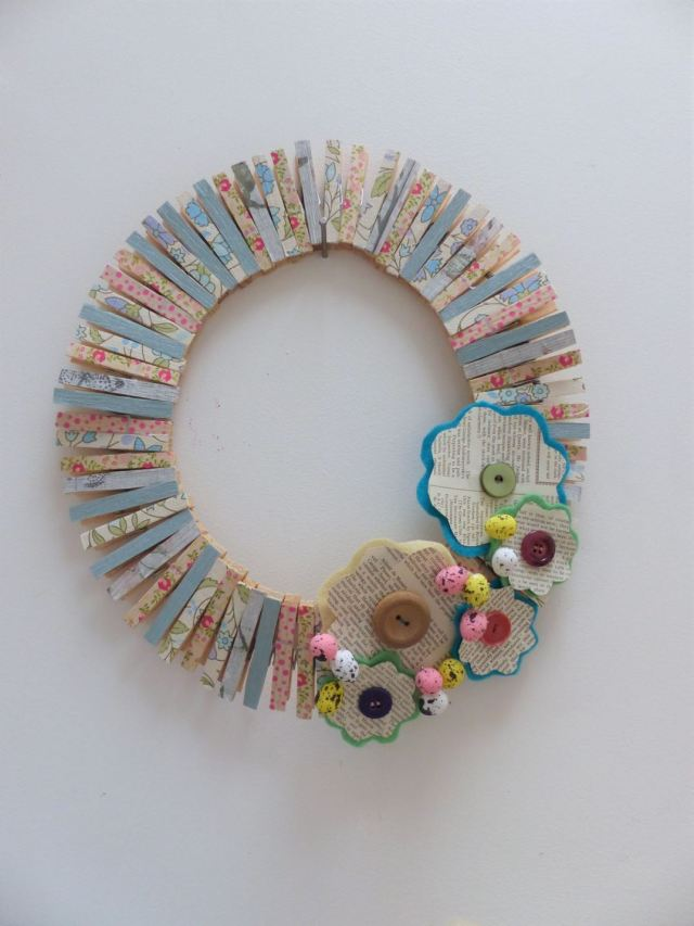 DIY Tutorial: A Clothes Peg Wreath by Kate Beavis: Easter Upcycling